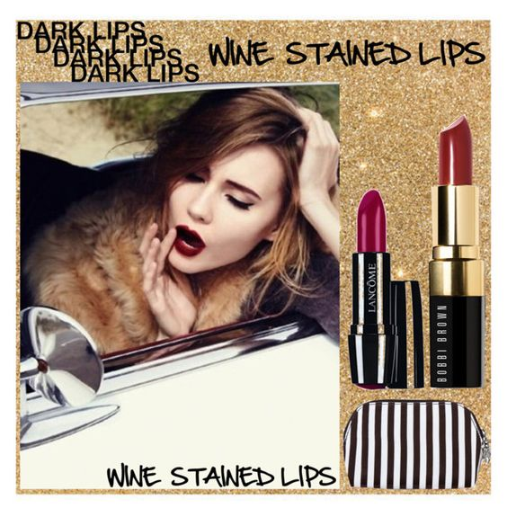 """""""Wine Stained Lips"""" by loveartrecyclekardstock ❤ liked on Polyvore featuring beauty, Henri Bendel, Lancôme and Bobbi Brown Cosmetics"""