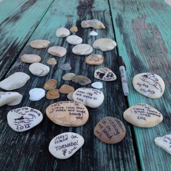 vakantieherinneringen bewaren, van iedere vakantie een steen