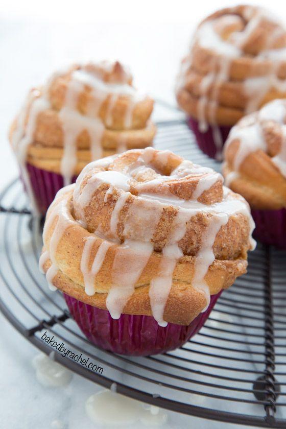 Cinnamon Roll Muffins with Vanilla Glaze (Baked by Rachel)