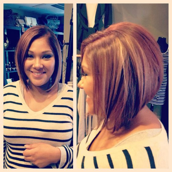 Tremendous A Line Bob Light Auburn With Carmel Amp Blonde Peak A Boos By Hairstyle Inspiration Daily Dogsangcom