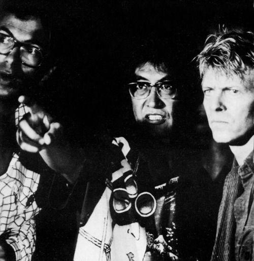 Nagisa Oshima and David Bowie on the set of Merry Christmas Mr. Lawrence (1983).