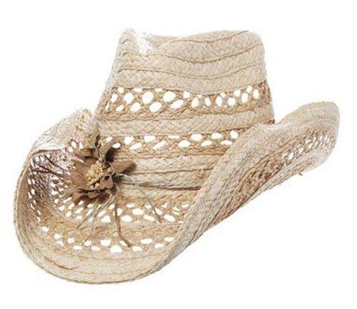 Peter Grimm Natural Flower Drifter Cowboy Hat Mallorie Straw Headgear New | eBay