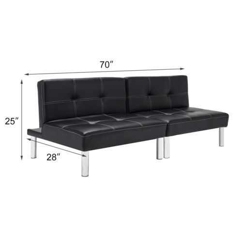 Folding Leather Convertible Couch Futon Sofa Bed Sleeper Living