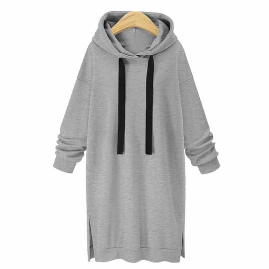 2018 Autumn Hoodie for Women Casual Long Sleeve Loose Solid Pullover with Pocket Knee-Length Dress