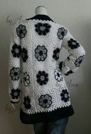 Crochet Flower Jacket Pattern : Crochet jacket, Crochet cardigan and African flowers on ...