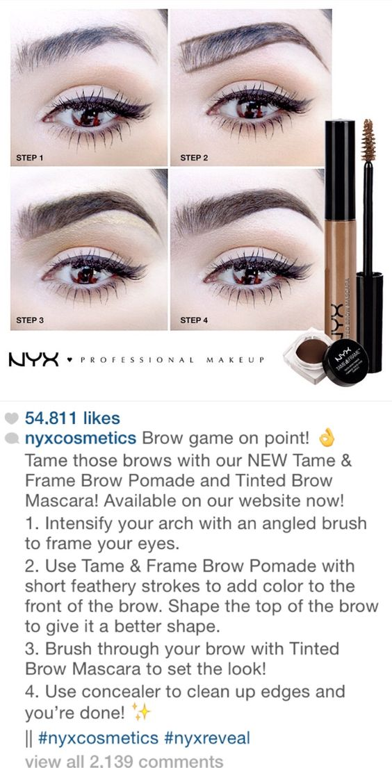 NYX Instagram tutorial for great eyebrows with their pomade and tinted brow mascara. Pomade: nyxcosmetics.com/p-287-tame-frame-brow-pomade.aspx Mascara: nyxcosmetics.com/p-283-tinted-brow-mascara.aspx