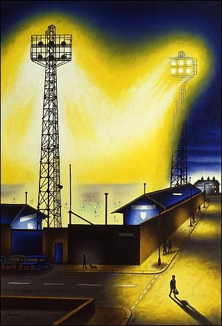 Holker Street (or, rather, the Furness Building Society Stadium), home of Barrow AFC. (Painting by John Duffin).