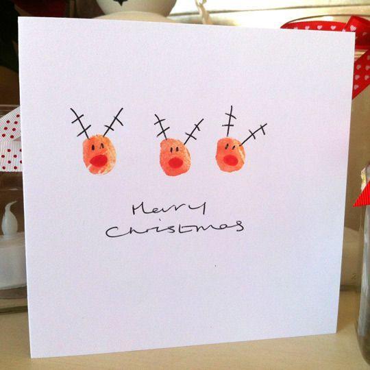 Christmas art and craft ideas thumbprint - Handmade Children S Christmas Cards Artisanat Renne Et Confection