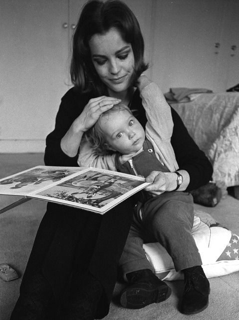 Romy Schneider Reading To Son David Photographed By Sven Simon