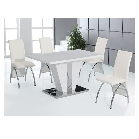 Costilla 4 Seater Dining Table Set In High Gloss White White