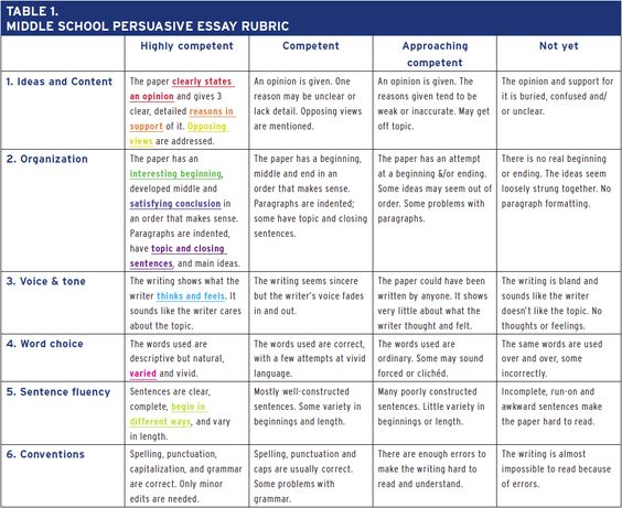 Middle School Persuasive Essay Rubric Assessment Pinterest - self assessment essay