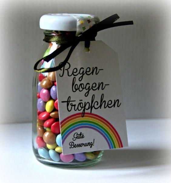"""Kleine Geschenke für kranke Schulkameraden oder - süßer Anhänger """"Regenbogentröpfchen - Gute Besserung"""" FREE Printable"""