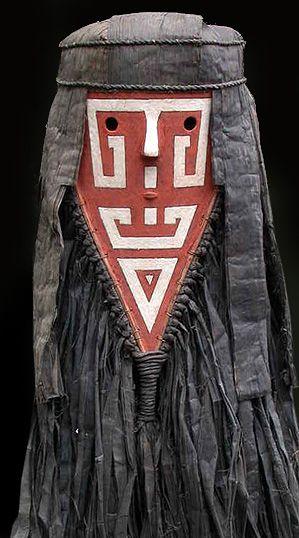 Tamoko mask  Wayana-Aparai people, Northern Amazon, Brazil  50 inches, pounded bark cloth and grasses