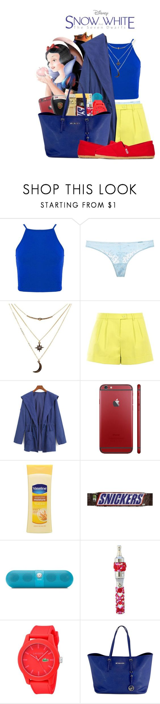"""""""The Modern Snow White"""" by unknownbaby ❤ liked on Polyvore featuring Calvin Klein Underwear, Charlotte Russe, Boutique Moschino, WithChic, Beats by Dr. Dre, Lacoste, Michael Kors, TOMS, modern and women's clothing"""