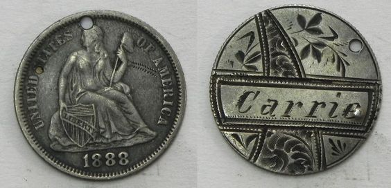 """LT11 Engraved Design Floral & """"Carrie"""" on 1888 Seated Dime LOVE TOKEN Coin"""