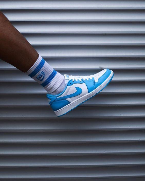 University | Air jordan 1 low, Sneakers men fashion, White nike shoes