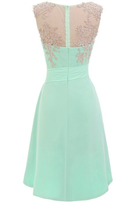 Sunvary High Low Mint Cocktail Homecoming Dresses for Juniors Chiffon Bridesmaid Prom Gowns EL9083 - US Size 8- Mint