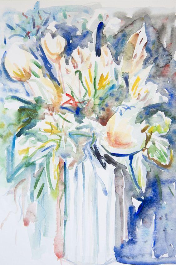#DEAF2012 artist Karen Evans. #painting #flowers