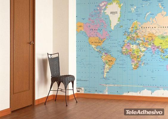 Papier peint vinyle carte du monde politique 2