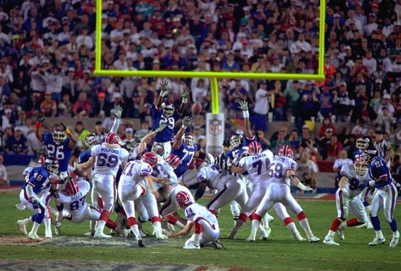 Scott Norwood's heartwrenching miss in the closing moments of Super Bowl XXV. In forty-eight Super Bowl contests thus far, this 47-yard FG attempt was the only one that carried with it the implications that it did: hit it, and your team wins; miss it, you lose. Norwood missed. Buffalo lost 20-19.