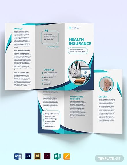 Health Insurance Company Tri Fold Brochure Template Word Doc Psd Indesign Apple Mac Pages Illustrator Publisher Trifold Brochure Template Trifold Brochure Health Insurance Companies