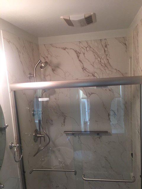 Home Smart Industries Bath Shower Remodeling Kohler Shower White And Black Brown Faux Marble Pat Chrome Shower Fixtures Glass Shower Doors Elegant Bathroom