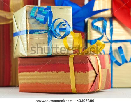 Gift boxes with blue and yellow ribbons