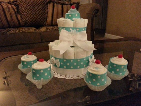 Baby Boy Diaper Cake With Cupcakes Made Out Of von CreationsbyLumy