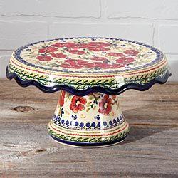 Beautiful Polish Pottery Cake Stand