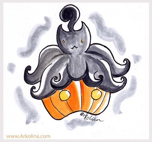 An Intktober sketch with a colour wash. The pokemon Pumpkaboo!  www.Arkolina.com