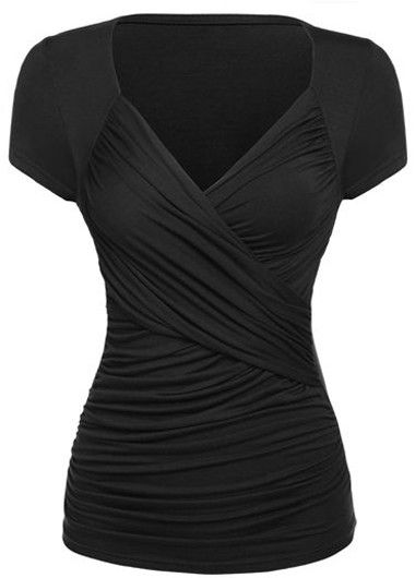 Black Fitted Short Sleeve Surplice Wrap Front Ruched Top