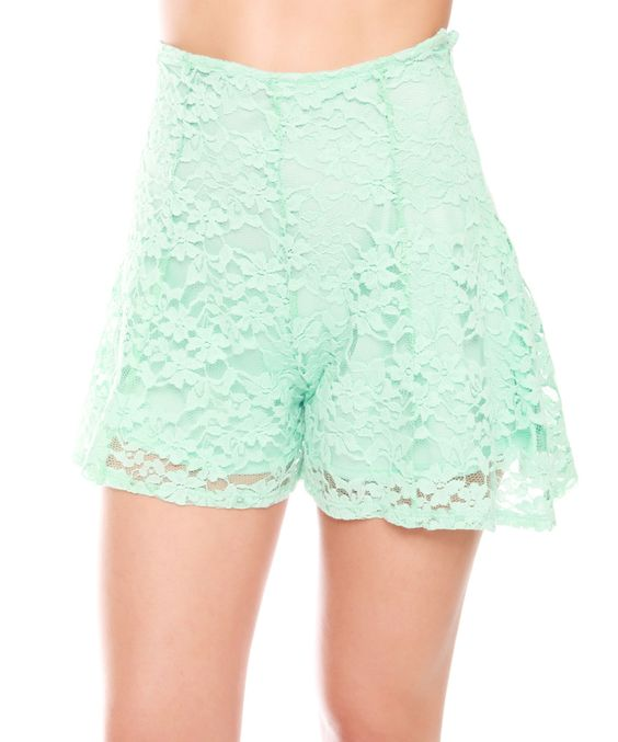 Love this Mint Lace High-Waist Shorts by Buy in America on #zulily! #zulilyfinds