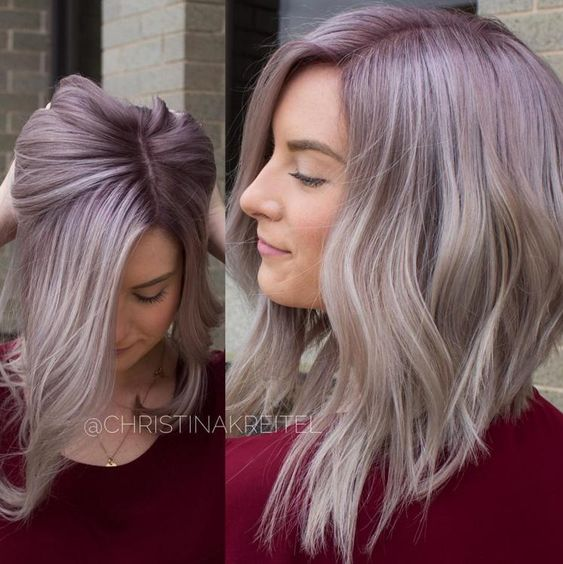 So beautiful!! Christina Kreitel created this with @GuyTangHairArtist's #KenraColor #MetallicObsession  Natural level 5. She toned pre-lightened hair with SV and VP Rapid Toner. Dried and applied 7VM + Violet permanent with 10 vol at the root. Smudged in alternating sections with 8VM Demi and 9VM+10SM Demi.
