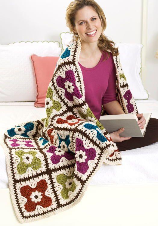 Flower Squares Afghan Crochet Pattern | FaveCrafts.com