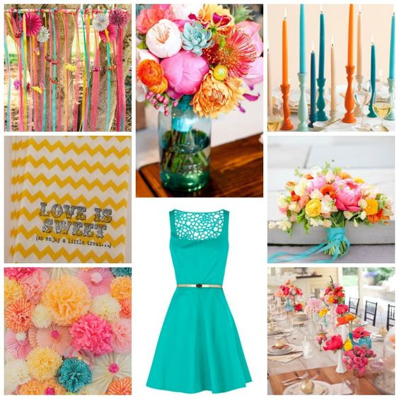 Burgh Brides Color Palette Inspiration - Fuchsia, Turquoise, Orange, & Yellow