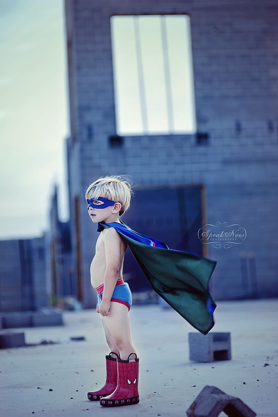 "I so love this great LITTLE SUPERHERO pic!!   Quote 'Speak Now Photography': ""There is nothing I love more than photographing children, unless it is a themed shoot designed specifically for the child to showcase his or her personality and  individuality.  This image so perfectly captures the imagination of a little boy who really believes he can grow up and be a superhero."""