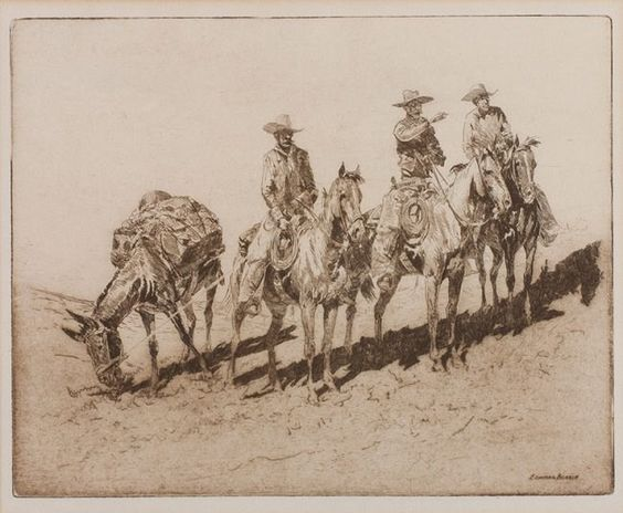 "Fine Art Etching : Edward Borein, Cowboy Artist, ""Grass Hunters No. 1"". #332"