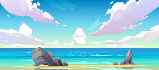 Ocean Or Sea Beach Nature Landscape With Fluffy Clouds Flying In Sky And Rocks Sticking Up From Sand In C Ocean Backgrounds Cloud Illustration Anime Background