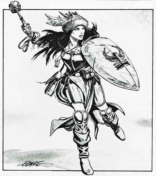 Cleric charging into battle. (Larry Elmore from the Mentzer red box basic D&D Players Manual, TSR, 1983.)