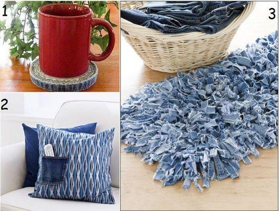 objets déco et accessoires maison en jeans recyclé- 3 idées faciles