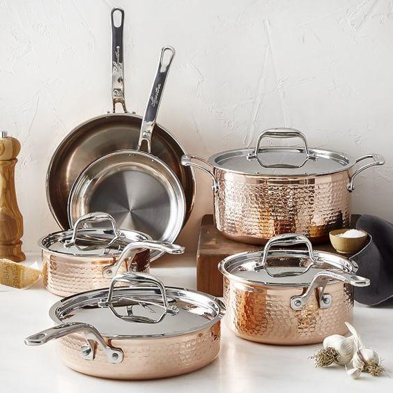 Lagostina Martellata Hammered Copper 10 Piece Cookware Set In 2020 Lagostina Cookware Set Pots And Pans Sets