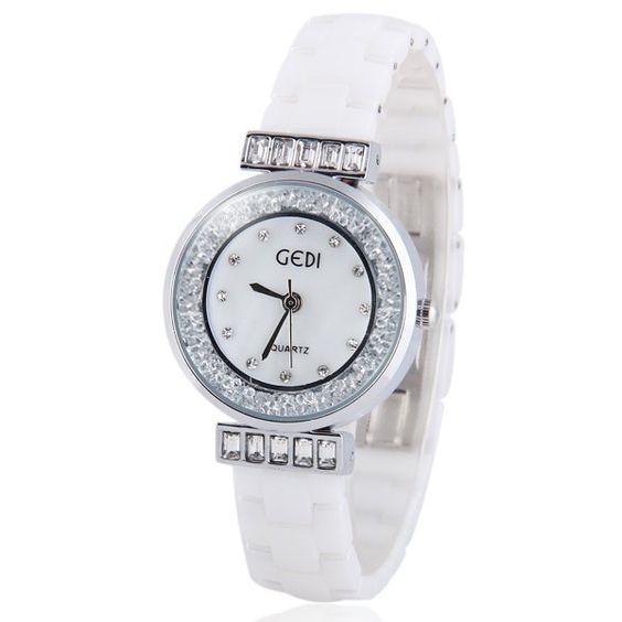 $15.73 Delicate Quartz Wrist Watch with Diamonds Beads Analog Genuine Ceramic Watchband for Women
