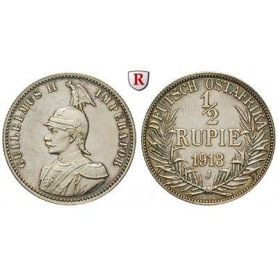 Nebengebiete, Deutsch-Ostafrika, 1/2 Rupie 1913, J, PP, J. 721: 1/2 Rupie 1913 J. J. 721; Polierte Platte, l. berührt 2.250,00€ #coins