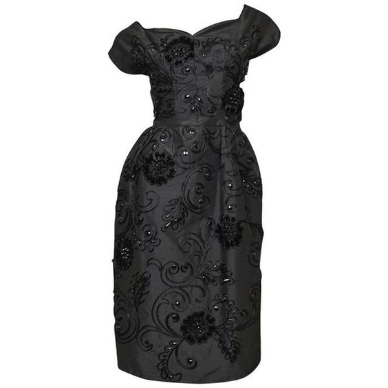 Pre-owned 1950s Demi-Couture Adele Simpson Beaded Black Silk Cocktail... ($470) ❤ liked on Polyvore featuring dresses, cocktail dresses, evening dresses, couture cocktail dresses, black dress, black cocktail dresses, cap sleeve cocktail dress and silk cocktail dress
