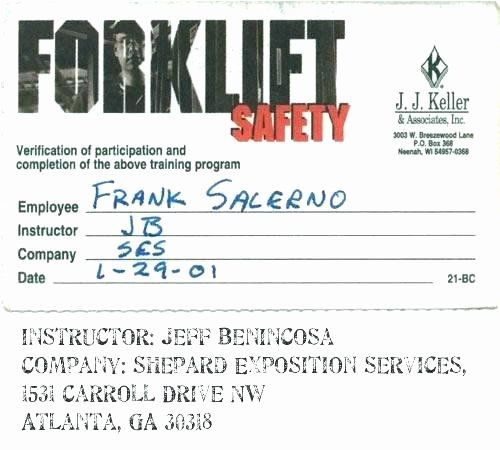 Forklift Certification Card Template Free Lovely Certified Forklift Operator Wallet Card Templa Card Templates Free Card Template Business Card Template Design