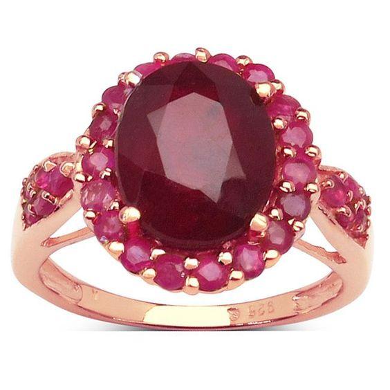 Malaika 14k Rose Gold Plated Sterling Silver 5 1//5 Carat Genuine Ruby Ring