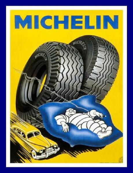 Vintage Advertising Posters | Michelin, changed michelin tyres fof my chevy,,, smooth