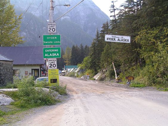 7/5/2016 - Border between Stewart, British Columbia, Canada and Hyder, Alaska, USA. And you must show your passport!