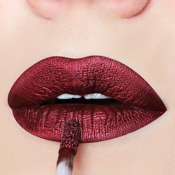 Red metallic lipstick