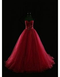 Gorgeous ruched sweetheart empire dark red puffy tulle evening prom dresses 2014 PW5-074